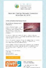Nov 26, 2019News from Springs Recovery Connection and a chance to GIVE!
