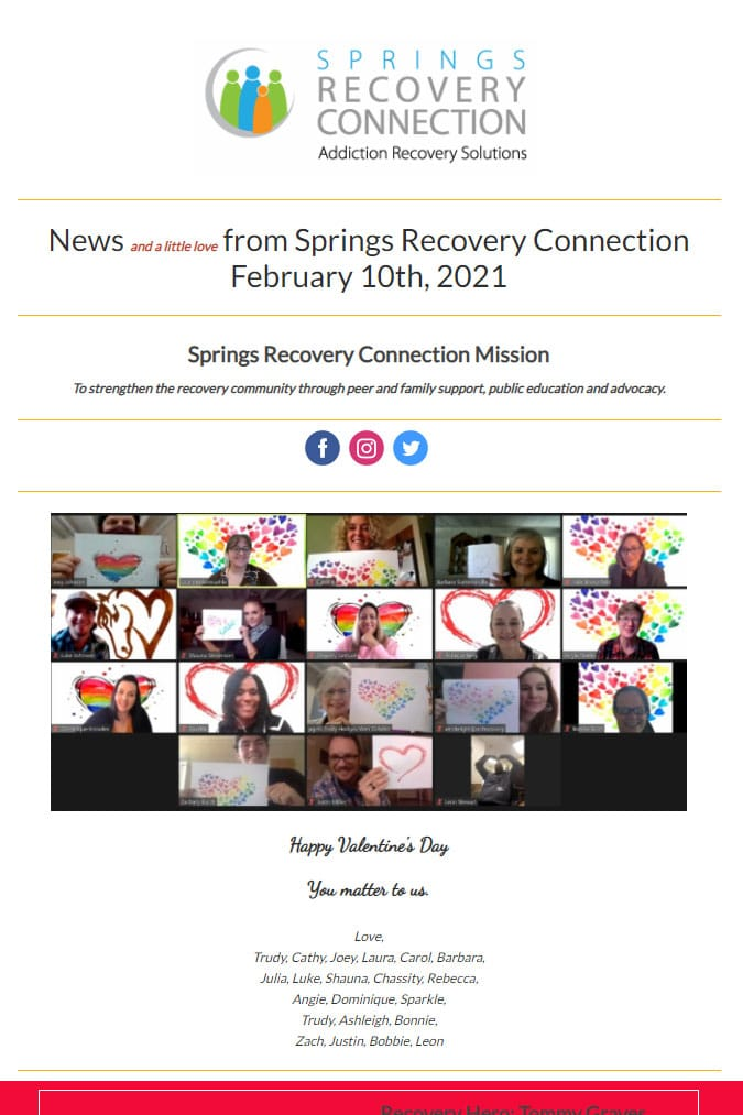 News and a little love from Springs Recovery Connection