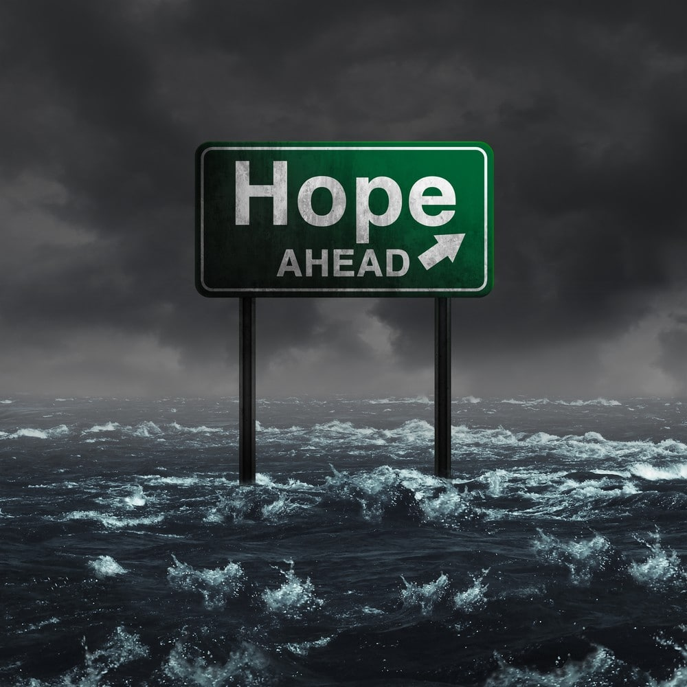 road sign in water that says hope