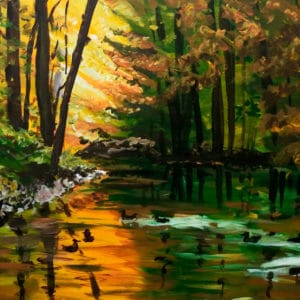 painting of side of lake in fall with ducks in water