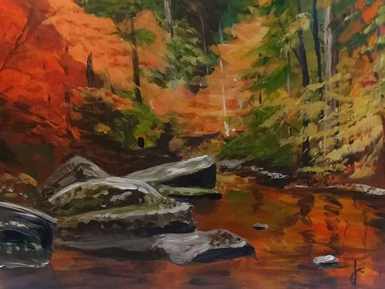 painting of side of lake in fall