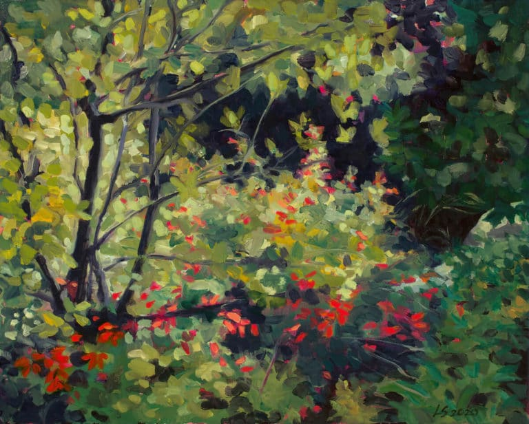 painting of bushes