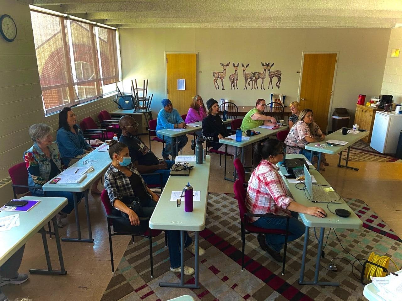 classroom full of people