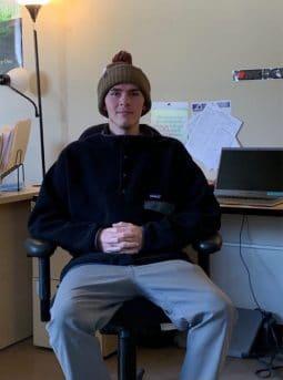 Zach wearing a beanie hat
